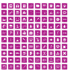 100 microscope icons set grunge pink vector