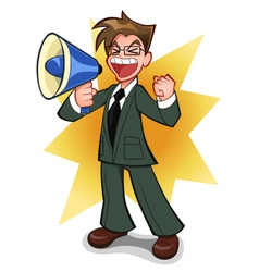 businessman with megaphone vector image