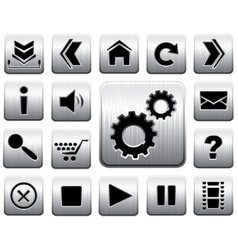metal icon set vector image