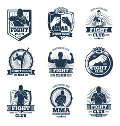 retro mma emblems and labels fight club vector image vector image