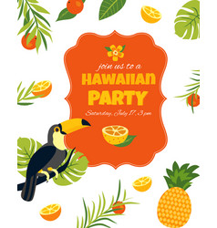 tropical hawaiian posterwith toucan party template vector image vector image