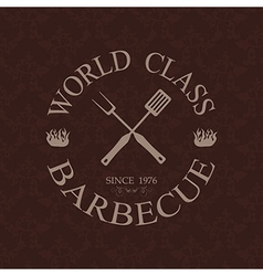 world class barbecue label stamp design element vector image vector image