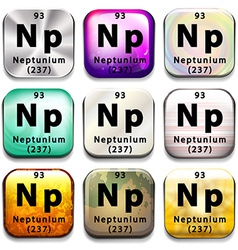 A button showing the element Neptunium vector image vector image