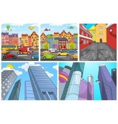 cartoon set of city backgrounds vector image