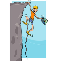 climber with tablet cartoon vector image