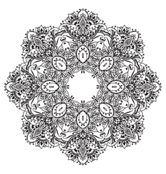 flower mandala with hand drawn floral vector image vector image