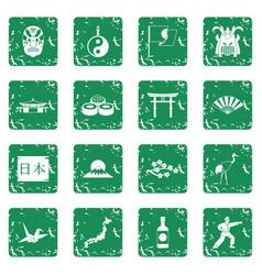 japan icons set grunge vector image