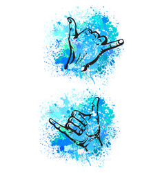shaka hand sign vector image vector image