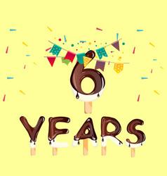 the sixth birthday greeting card vector image vector image