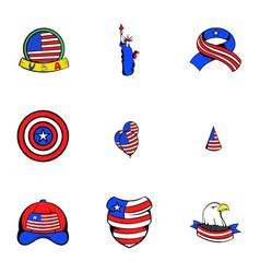 usa icons set cartoon style vector image vector image