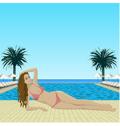 woman in bikini lying near pool vector image