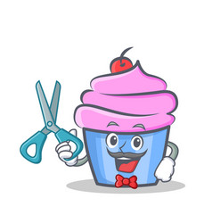 barber cupcake character cartoon style vector image
