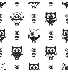 seamless pattern with black and white owls vector image