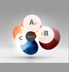 shiny circles with text in 3d space vector image vector image