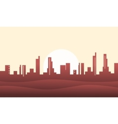 Silhouette of hill and city backgrounds vector image