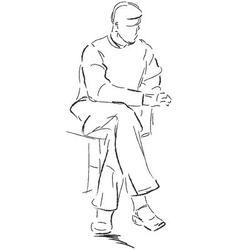 Sitting man vector image vector image