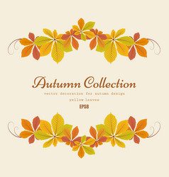 autumn background with chestnut leaves vignette vector image vector image