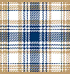 blue beige white checkered plaid seamless pattern vector image
