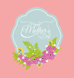 happy mothers day card floral style vector image vector image