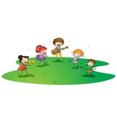 kids enjoying music vector image vector image