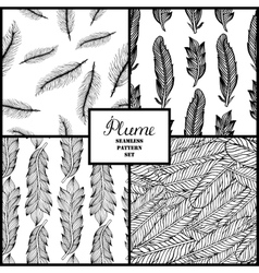 Seamless pattern with hand-drawn feathers vector image