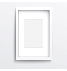 White vertical frame on gray wall vector image vector image