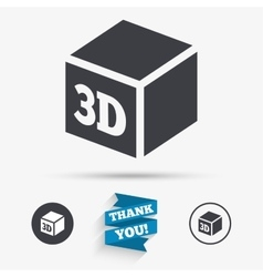 3D Print sign icon 3d cube Printing symbol vector