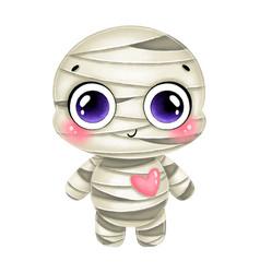 A cute cartoon halloween mummy vector