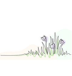 Abstract meadow line with grass and flowers vector