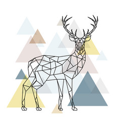 abstract polygonal deer geometric style vector image