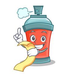 Aerosol spray can character cartoon with menu vector