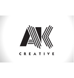 ak logo letter with black lines design line letter vector image