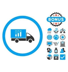 Analysis Delivery Flat Icon with Bonus vector image