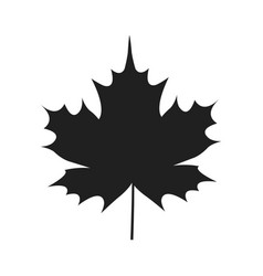 Autumn leaf black silhouette icon isolated white vector