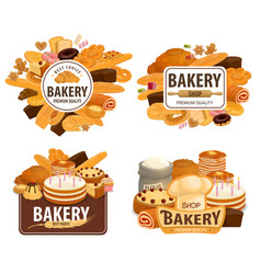 bakery shop cakes patisserie pastry desserts vector image