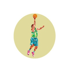 Basketball Player Lay Up Rebounding Ball Low vector