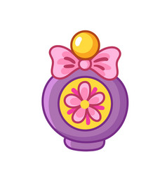 Beautiful bottle perfume with flowers vector