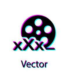Black film reel with inscription xxx icon vector