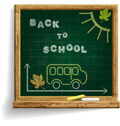 Blackboard with school bus and expression back to vector