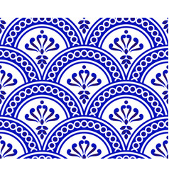blue and white damask pattern vector image