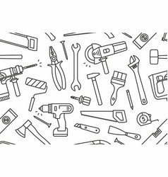 Building tools seamless pattern vector