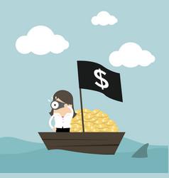 businesswoman on money boat vector image