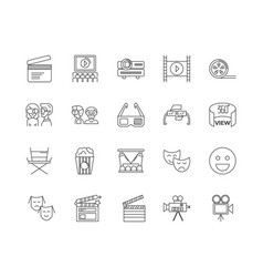 cinema equipment line icons signs set vector image