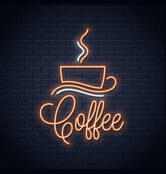 coffee neon banner coffee cup neon sign on wall vector image