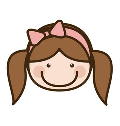 Color silhouette cartoon front face girl with vector