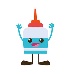 Colorful happy and tender glue object kawaii with vector