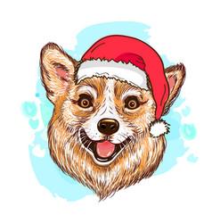 corgi dog in christmas hat vector image