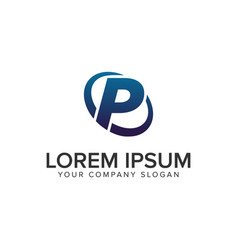 creative modern letter p logo design concept vector image