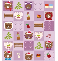 cute bear christmas pattern vector image