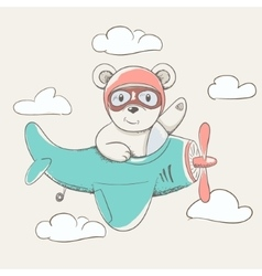 Cute little bear fly plane vector